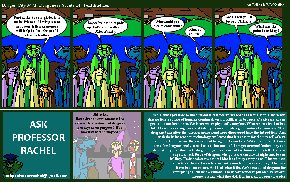 471. Dragoness Scouts 14: Tent Buddies (With Ask Professor Rachel 94)